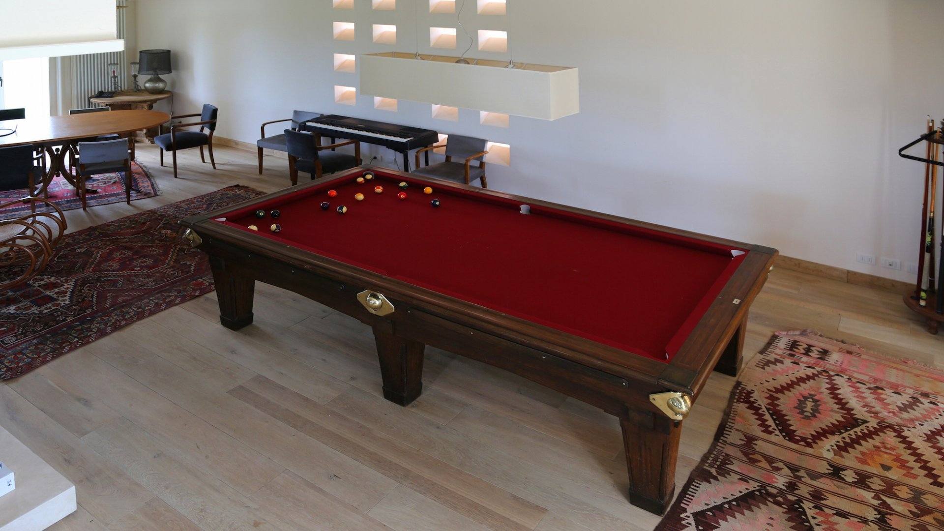 ground floor, living and dining area with billiard table