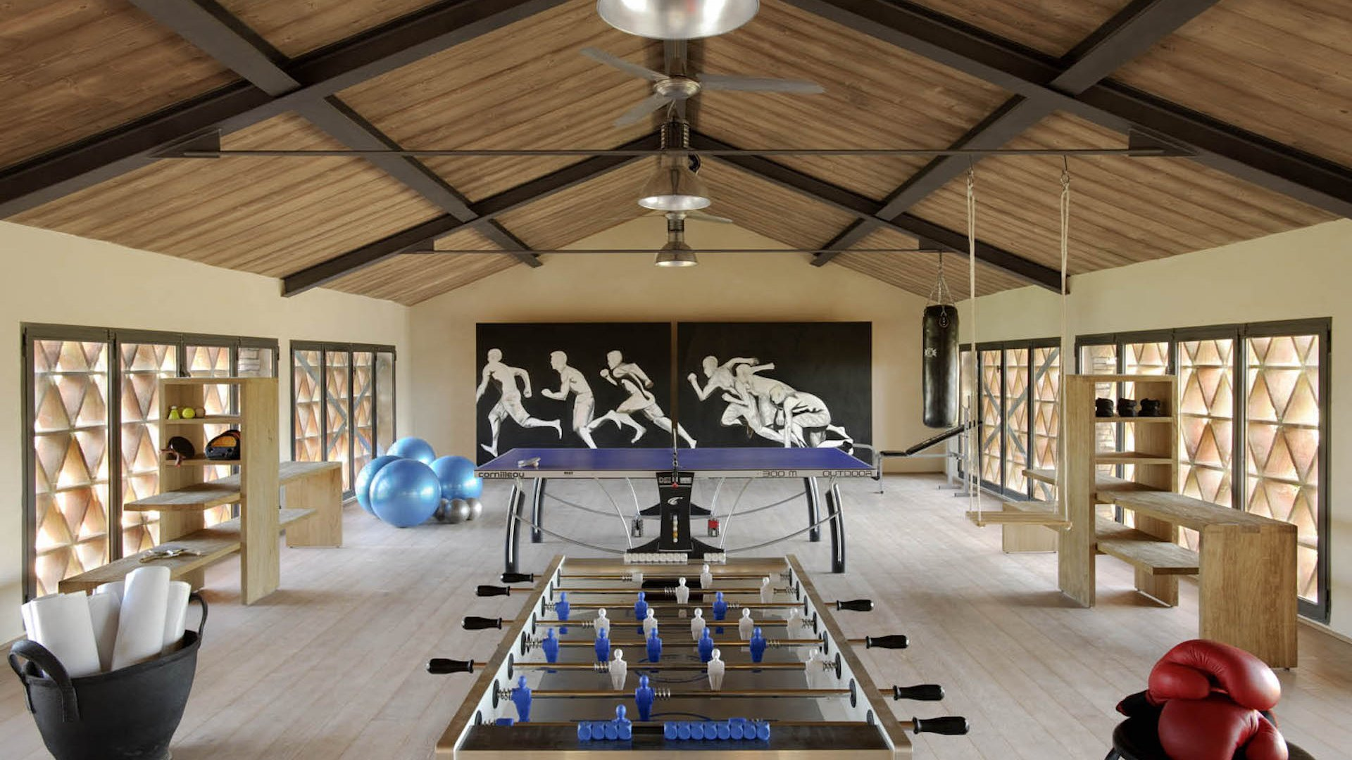 guest house, gym and play area