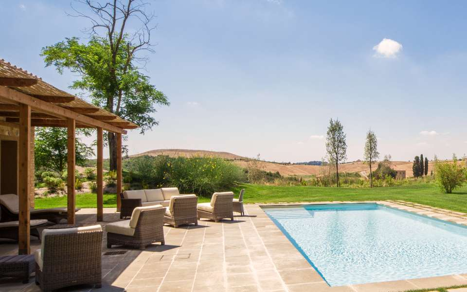 luxury villa rental with view over the golf course