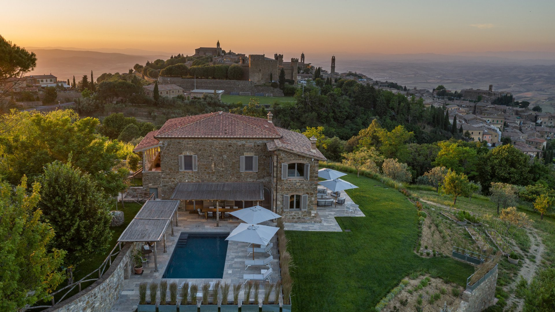 aerial view of Tuscan luxury villa Lucina and Montalcino