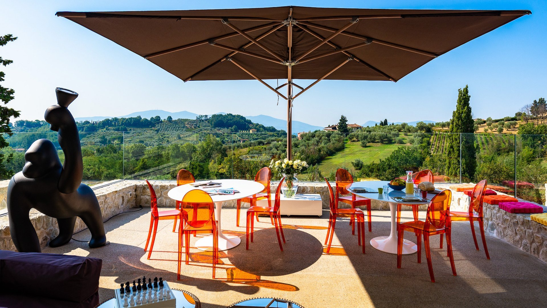 private terrace with view on the Tuscan hills