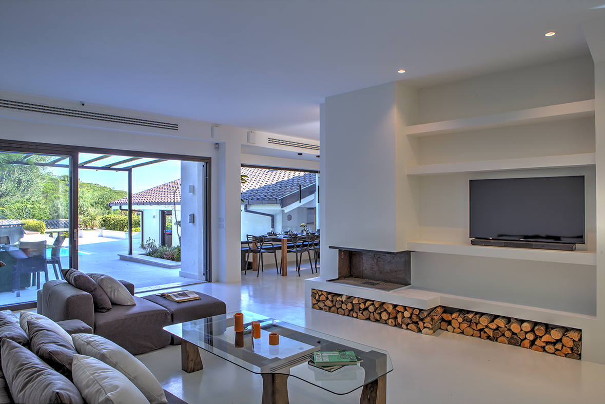 ground floor, living room with access to the pool area